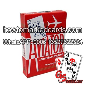Barcode red Aviator playing cards