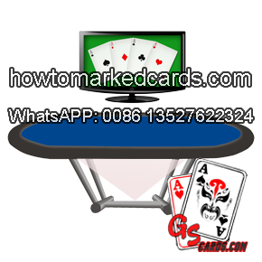 Magic playing cards scanner inside poker table