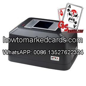 poker shuffler with side mark barcode reader