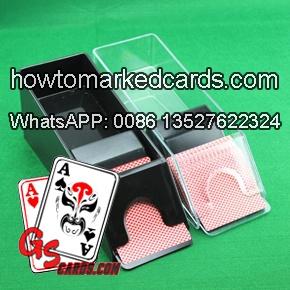 printed barcode marked deck camera in blackjack shoe