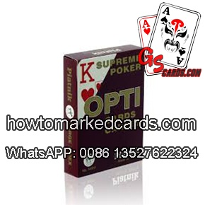 Invisible ink marks on Piatnik OPTI red poker cards